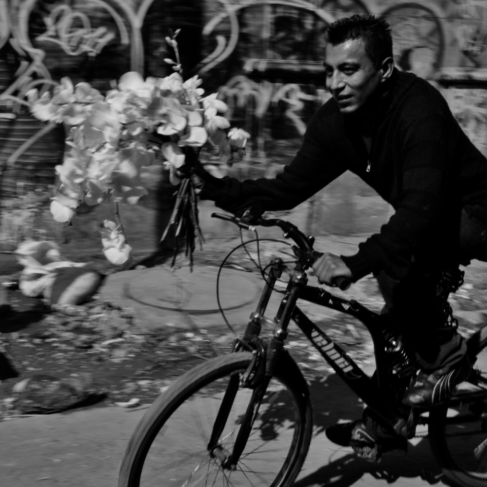 Love, Mexican style. This man carrying a large bunch of flowers was riding towards me slow enough for me to ask permission to shoot him, for him to grant it (along with a smile) and for me to rattle off three or four frames. Another of my favorite all-time photos.