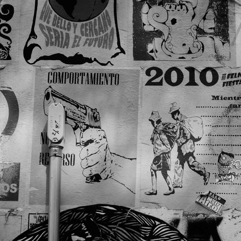 "Much politica activism in Mexico City finds a creative outlet in the forms of small posters plastered here and there and covering a range of topics from gun control to the rights of the ""indigenas"", Mexico's native tribes people."