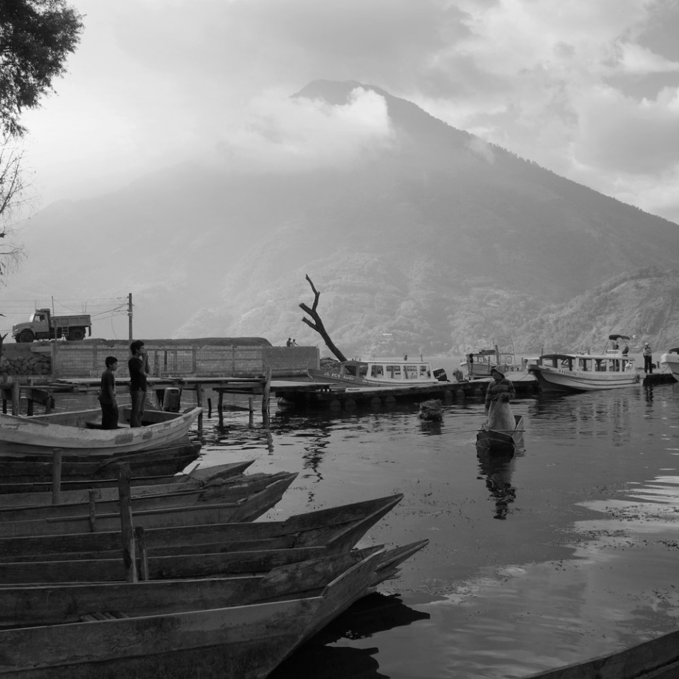 Canoes and vol... canoes. Santiago Atitlan.