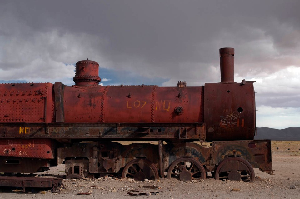 Abandoned steam locomotive at Uyuni, Bolivia train cemetery.