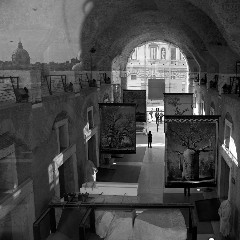 Roman mall, converted to a museum, shot through a plexiglass window.