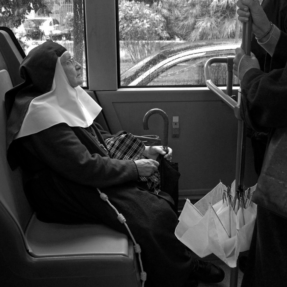 Praying for it to stop on a public bus.