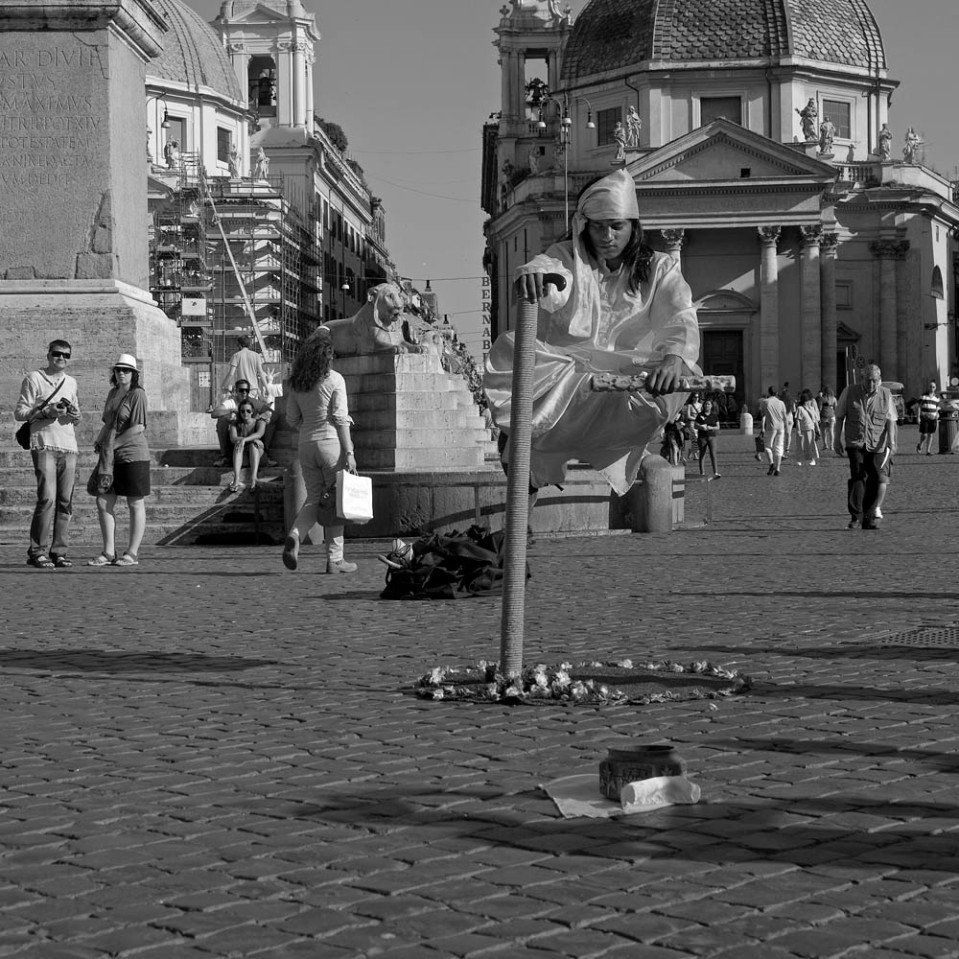 It did take years of practice in India, but now my dream of levitating for a living has finally come true! Piazza del Popolo.