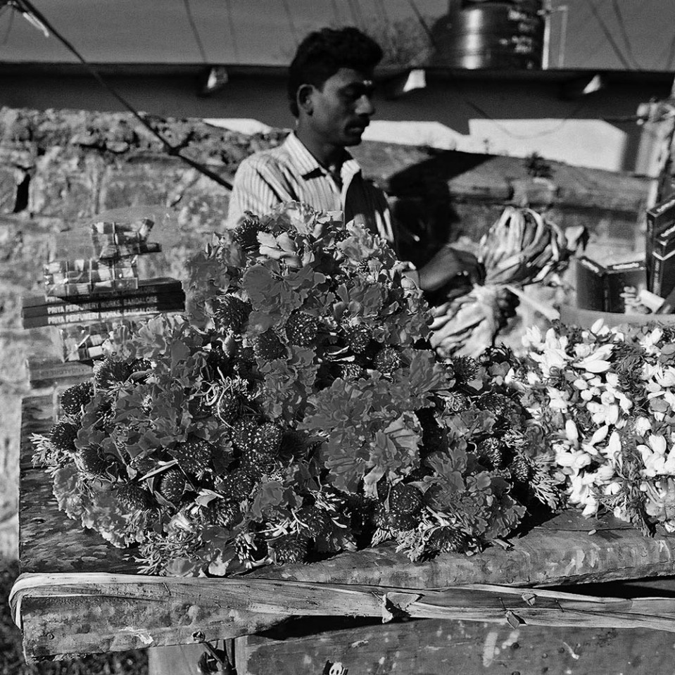 One of India's many shop-on-wheels. Fresh flowers, anyone?