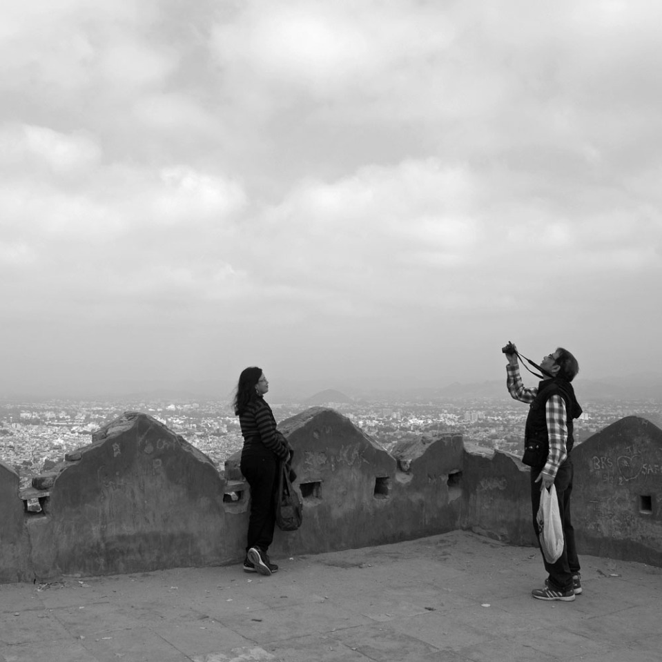 Some like to take pictures of each other, as this couple of local tourists at the hilltop fort.