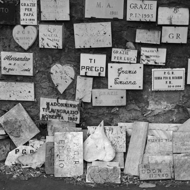 The plaques that fall are stacked and left in peace.